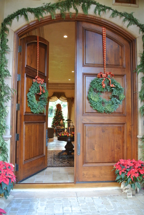 Hanging Wreath On Arched Doors