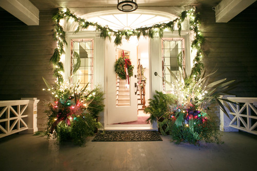 Very festive Christmas front door decor