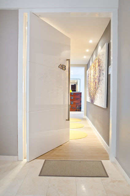 Design ideas for a medium sized contemporary front door in Other with a pivot front door, a white front door, grey walls and ceramic flooring.