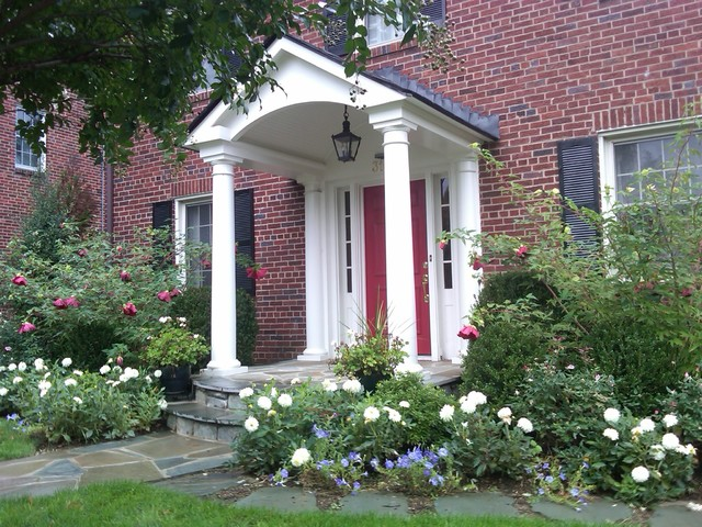 Classic Portico On Brick Colonial Traditional Entry DC Metro - Colonial portico front entrance