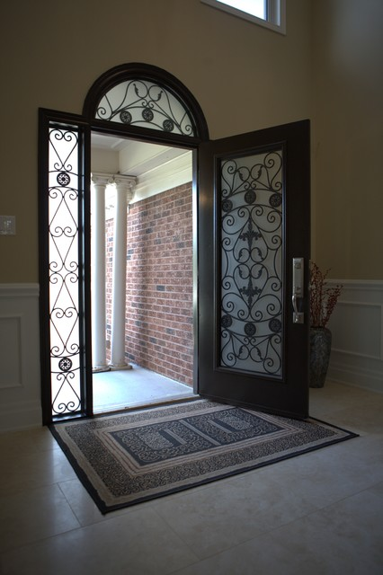 Classic style wrought iron door inserts - Front Doors - other metro - by Lusso Glass