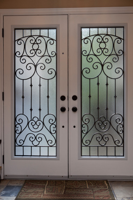 Classic Style Wrought Iron Door Inserts Entry