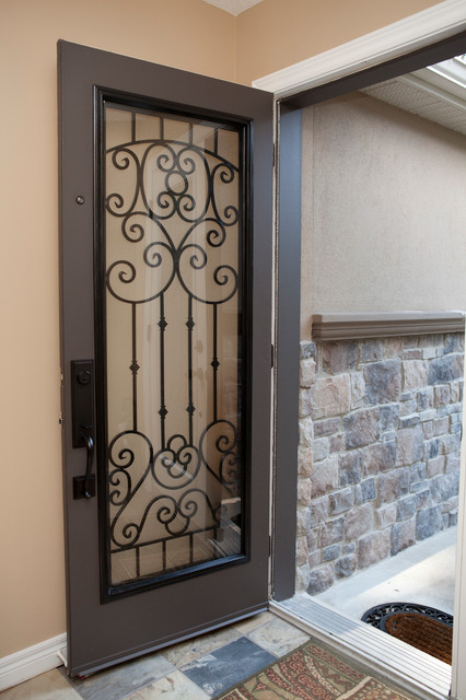 Classic style wrought iron door inserts entry other for Exterior doors with screen insert