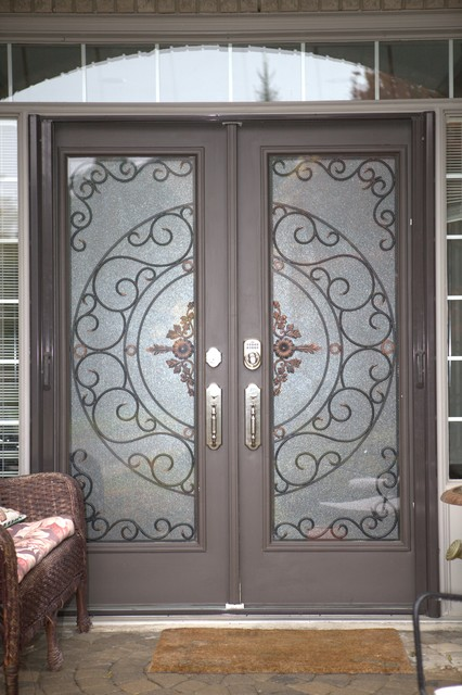Classic style wrought iron door inserts entry other - Wrought iron kitchen cabinet door inserts ...