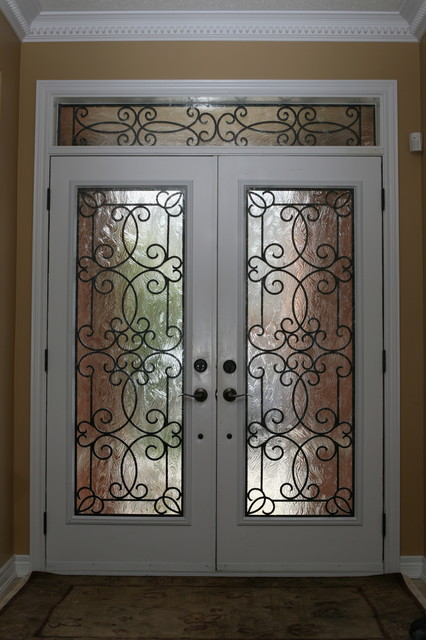 Classic style wrought iron door inserts - Entry - other ...