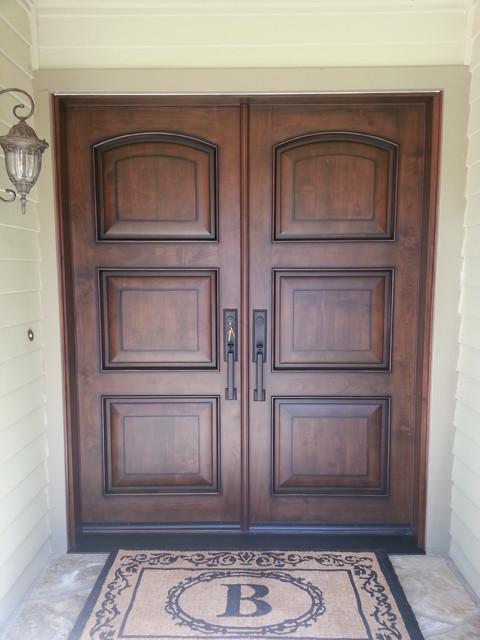 Captivating Clear Alder Wood Doors Mediterranean Entry