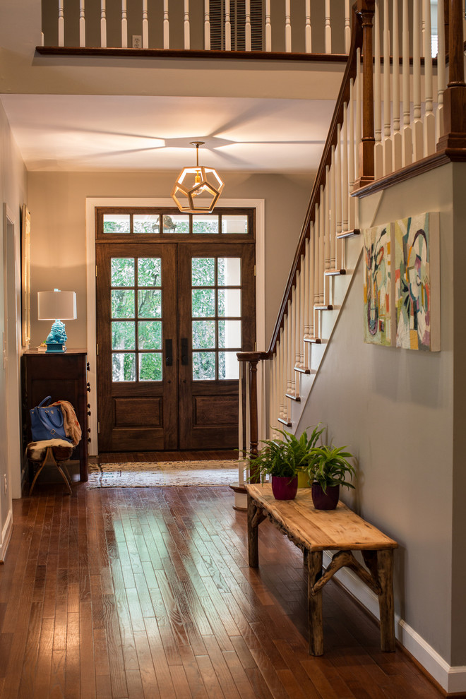 Transitional double front door photo in Other with a glass front door