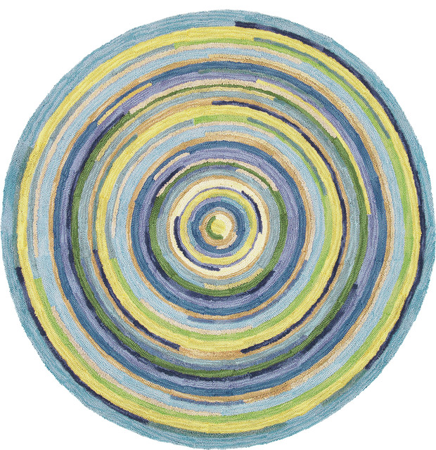 Concentric Sky Round Rug Traditional Entry Boston