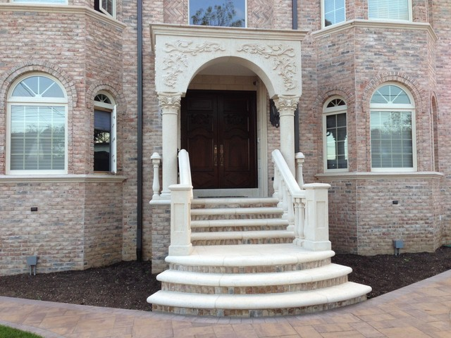 Concrete Balustrade For Front Entrance Mediterranean