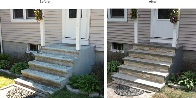 Concrete Stairs Refurbished With Stone Rustic Entry
