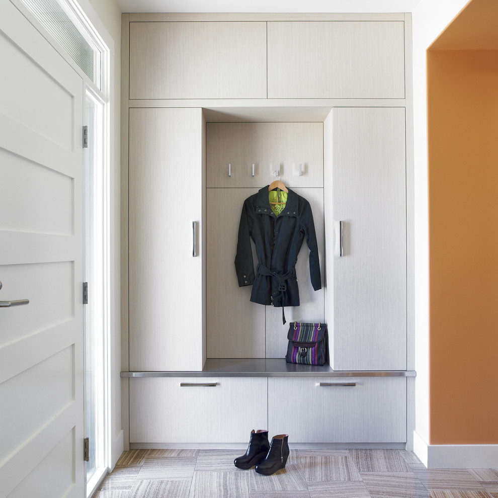 Example of a trendy mudroom design in Portland