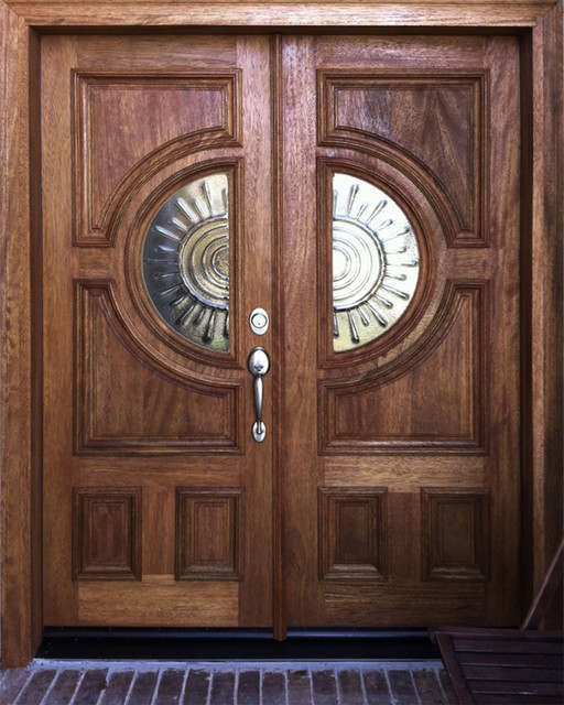 Double Entry Doors In Mahogany Contemporary Entry By