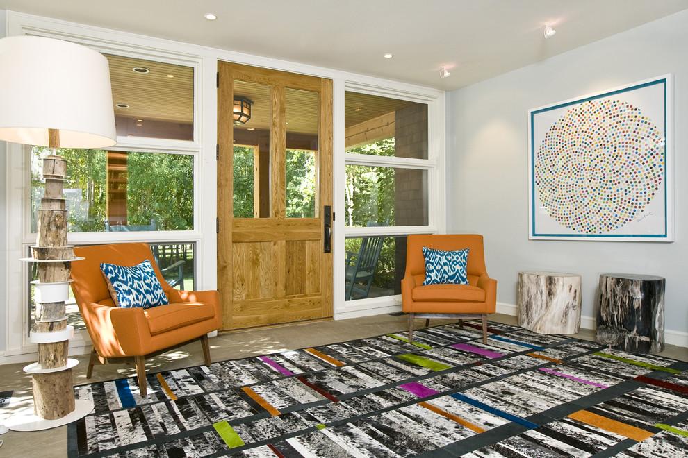 Single front door - contemporary single front door idea in Other with gray walls