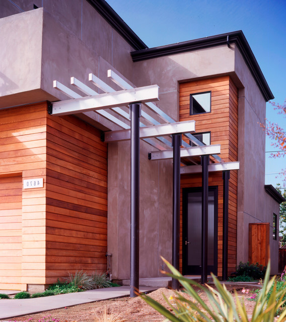 Contemporary Entry on curved deck with pergola, wire pergola, front yard pergola, house plans ranch style with pergolas, white cedar pergola, front porch pergola, back porch pergola, house without front door, attached pergola, house with porch front door,
