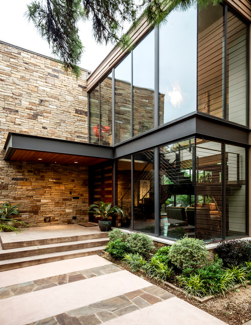 Swananoah residence contemporary entry dallas by for Parement facade exterieur