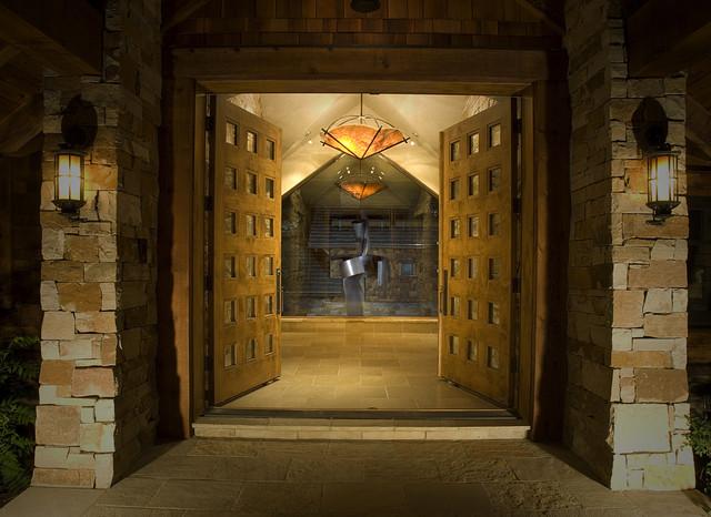 Contemporary Mountain Home Front Door Contemporary