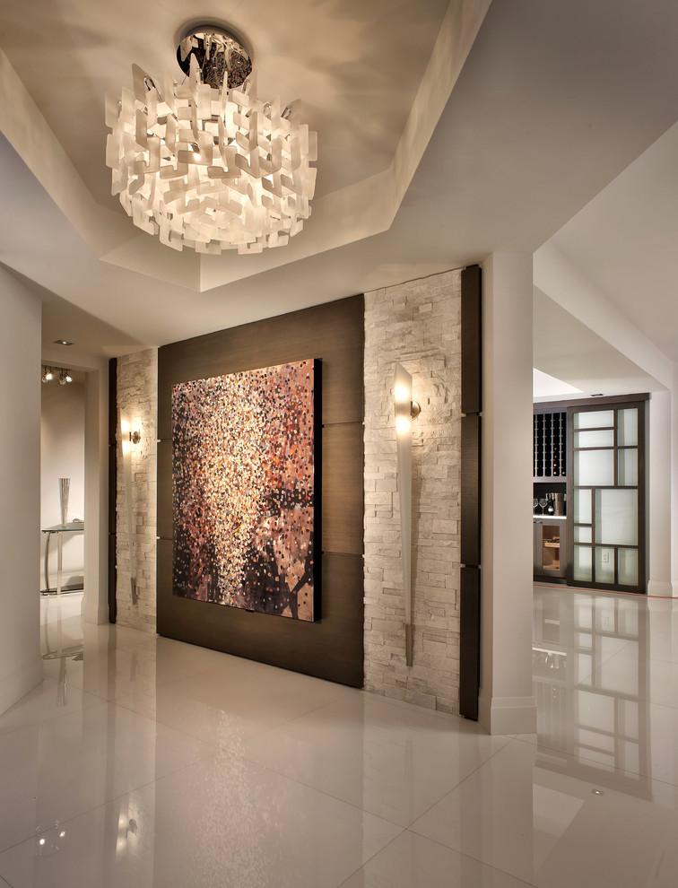 Trendy foyer photo in Miami with white walls