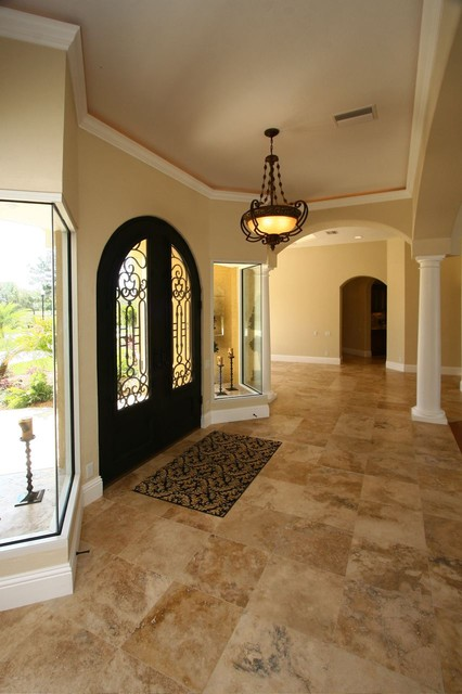 Country Classic Travertine Tiles Mediterranean Entry