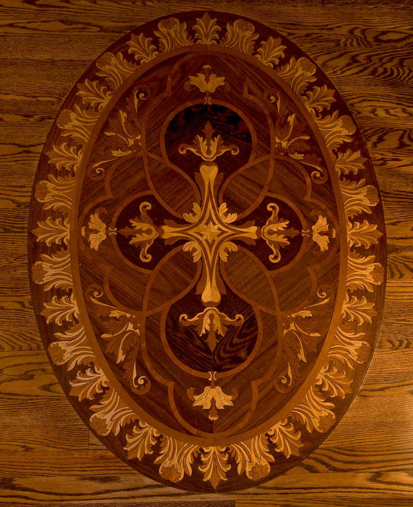 Example of a classic medium tone wood floor entryway design in Other