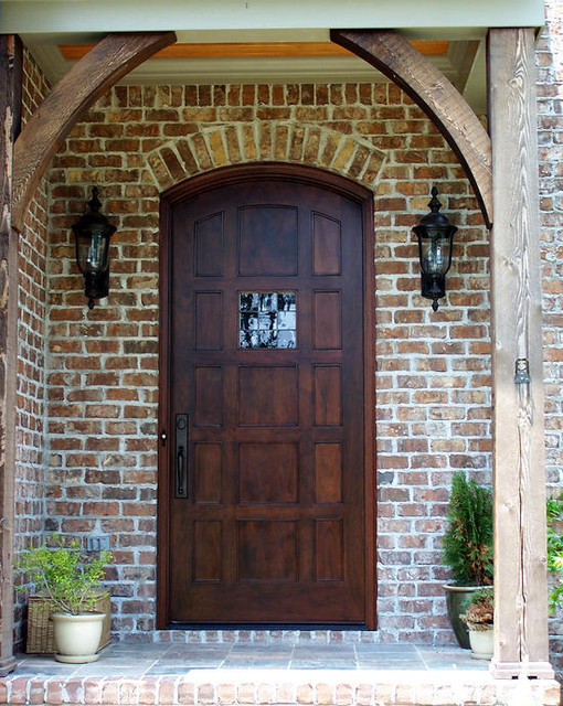 Modern interior wooden front door big window for French doors front of house