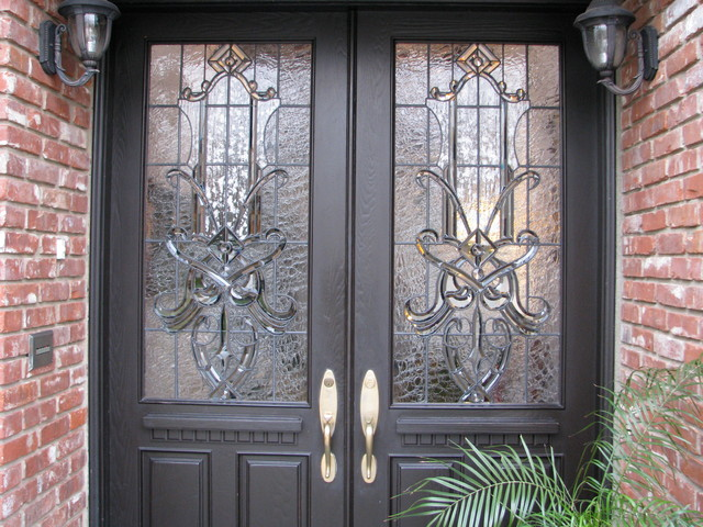 Craftsman Traditional Leaded Beveled Stained Glass Entry Doors Side Lites American