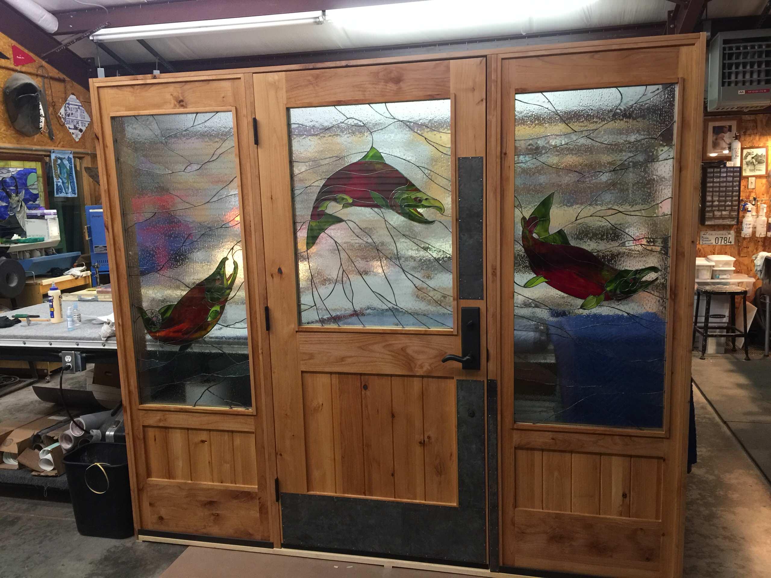 CRYSTAL CREEK LODGE, KING SALMON, ALASKA CUSTOM DOOR BY ACACIA CUSTOM DOOR, GLAS