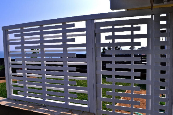 Custom built wood trellis with Entry gate - Malibu, Ca ...