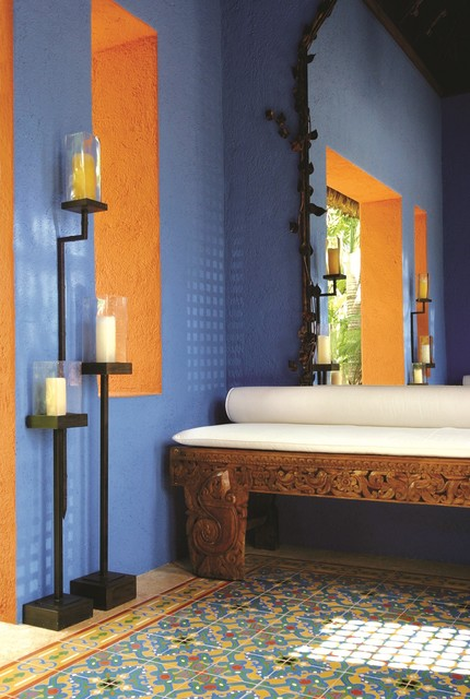 Custom Cement Tiles Add Tropical Color tropical-entry