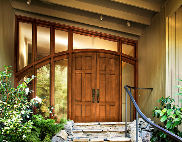 inspiration for a entryway remodel in san francisco with beige walls and a medium wood