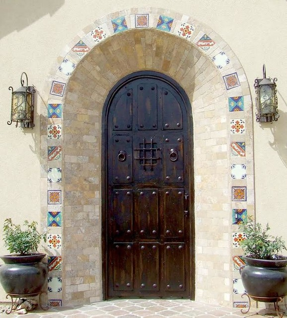 Custom Entry Doors, Hand Carved Wood & Wrought Iron Hardware