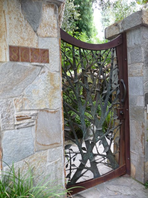Custom Iron Tree Entry Gate contemporary-entry