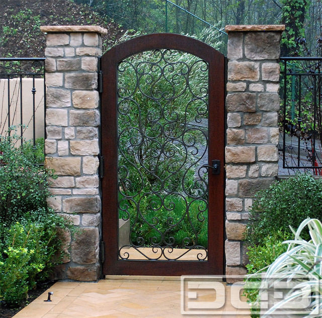Custom Mediterranean Style Passage Gates With Iron Forged Scrolling U0026 Wood  Frame Mediterranean Entry