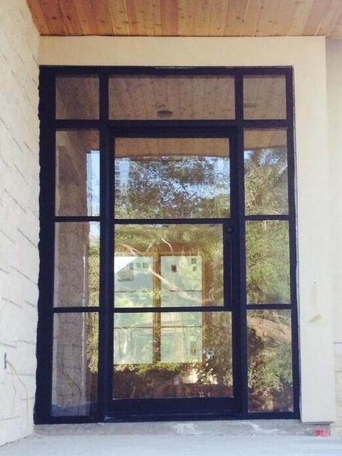 Custom narrow profile iron front doors contemporary for Narrow front door