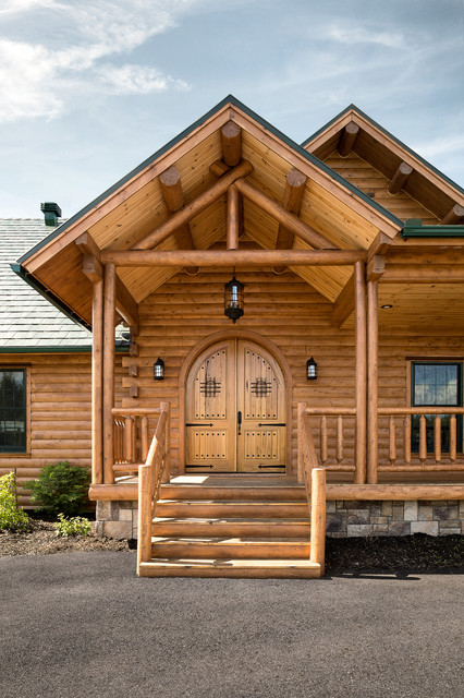 Custom northern maine log home estate rustic entry for Custom rustic homes