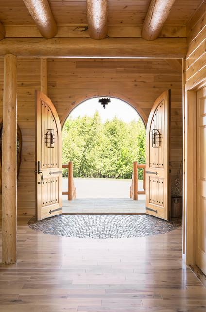 Custom Northern Maine Log Home Estate rustic-entry