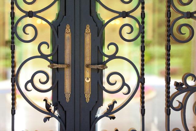 Custom ornate wrought iron / glass front entry door 24k gold plated handles. - Mediterranean ...