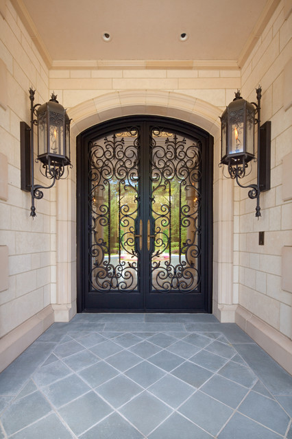 Custom Ornate Wrought Iron Glass Front Entry Door Gas Lanterns Mediterranean Entry