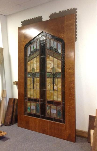 Custom Stained Glass Sliding Barn Door Rustic Entry