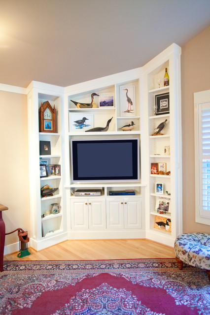 Custom White Bookcases and Media Cabinet - Contemporary - Entry - dc metro - by A Cut Above, Inc.