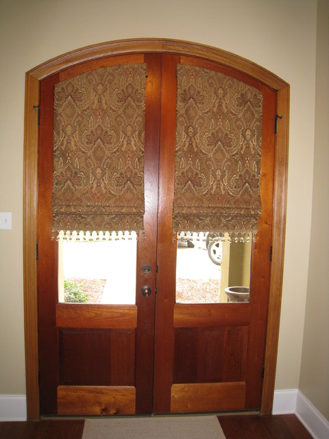 Custom window treatments traditional entry new for Door window shades blinds