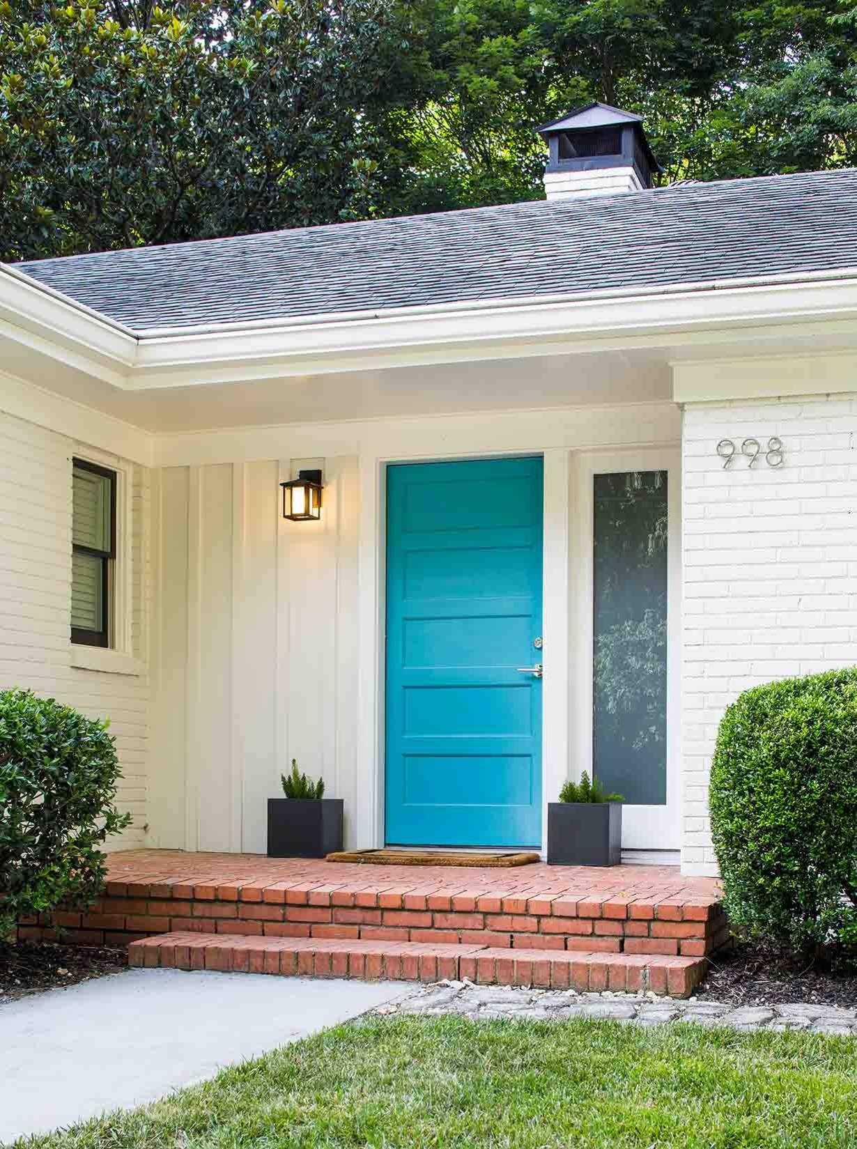 75 Beautiful Mid Century Modern Entryway With A Blue Front Door Pictures Ideas November 2020 Houzz