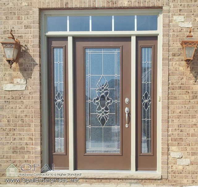 Decorative Steel Front Entry Doors : Decorative glass steel entry door by provia with tudor