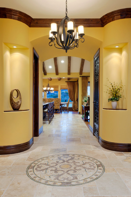 Example of a tuscan foyer design in San Diego