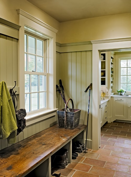 Mudroom with reclaimed wood bench