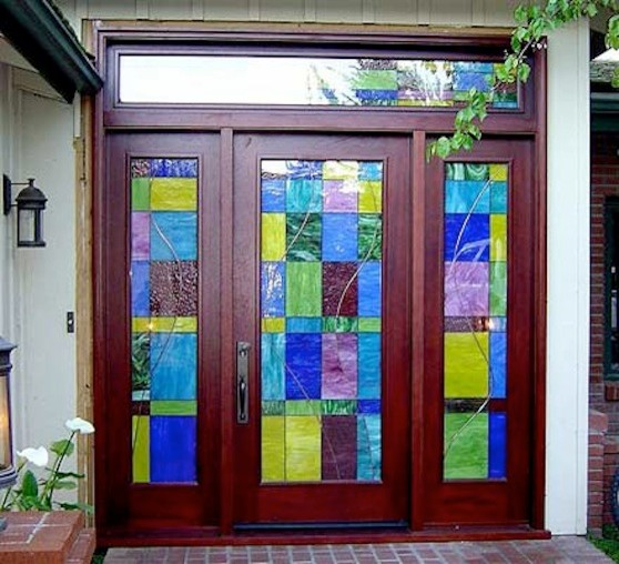 Designer Series Transitional Stained Glass Front Door In