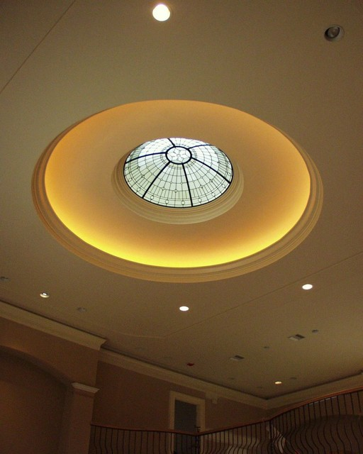 Domed Ceiling Art Glass Skylight Traditional Entry