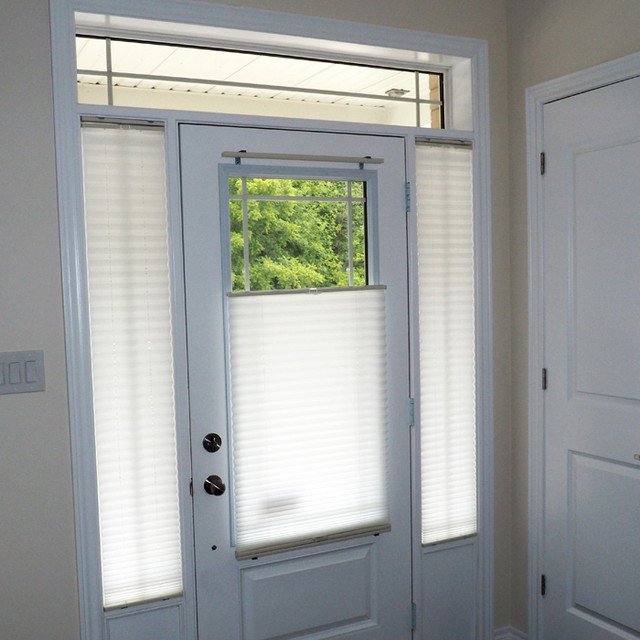 Door glass and sidelight window coverings modern entry for Front door window blinds