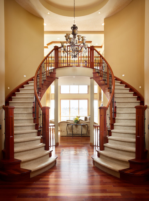 Double curved stairs traditional entry edmonton by for Double curved staircase