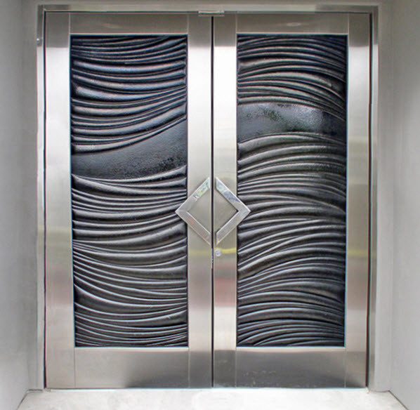 Double entry doors modern san diego by cast glass for Double glass doors