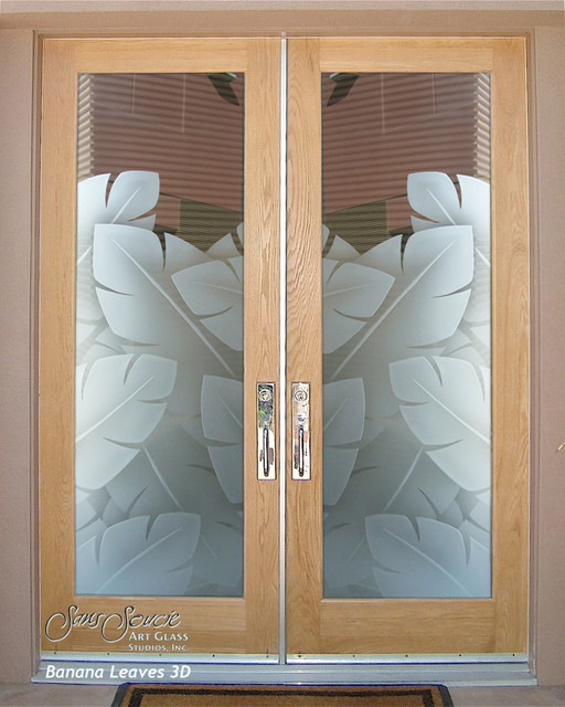 Perfect Double Entry Doors   Glass Front Doors   Exterior Glass Doors   BANANA  LEAVES 3D Tropical Great Pictures